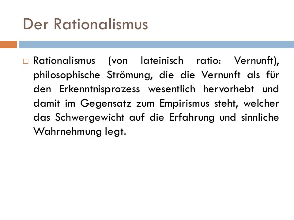 Der Rationalismus