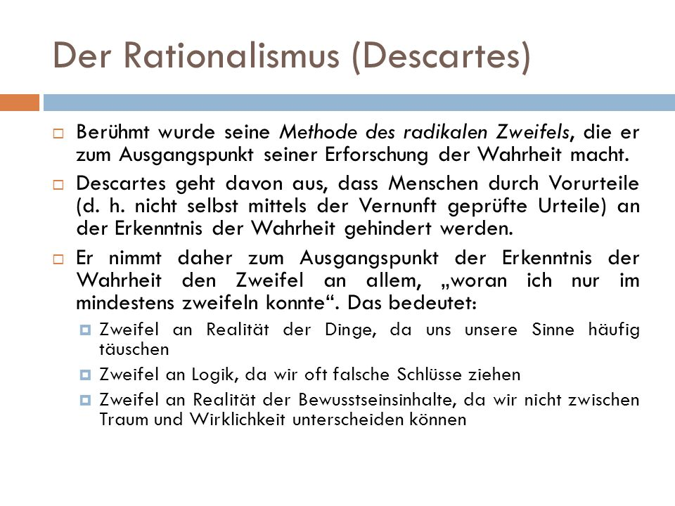 Der Rationalismus (Descartes)