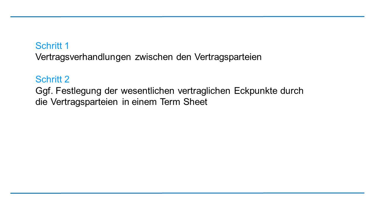 Schritt 1 Vertragsverhandlungen zwischen den Vertragsparteien. Schritt 2.