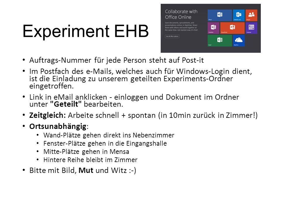 Experiment EHB Auftrags-Nummer für jede Person steht auf Post-it