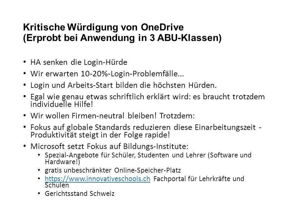 Kritische Würdigung von OneDrive (Erprobt bei Anwendung in 3 ABU-Klassen)