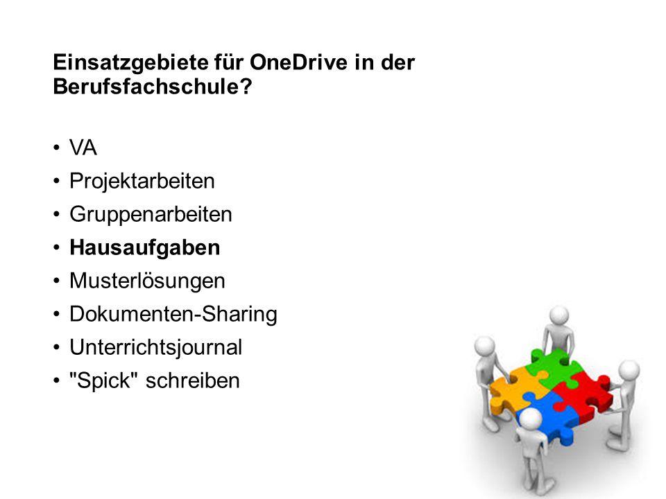 Einsatzgebiete für OneDrive in der Berufsfachschule