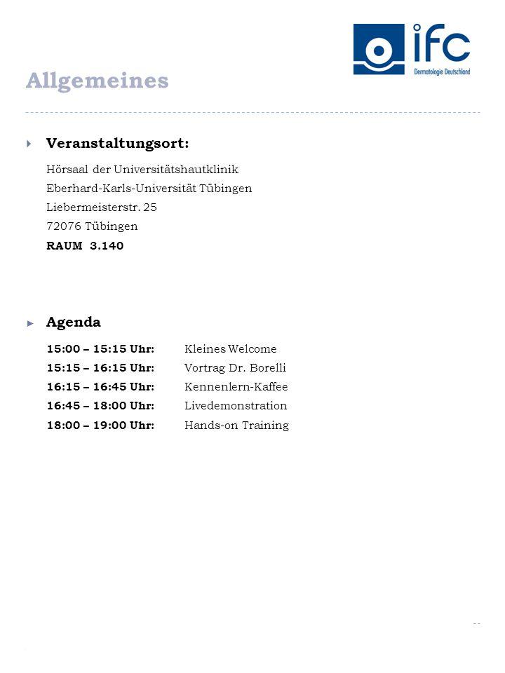 Allgemeines Veranstaltungsort: Agenda