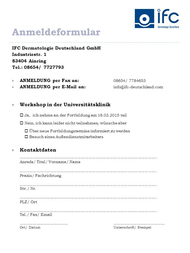 Anmeldeformular Workshop in der Universitätsklinik Kontaktdaten