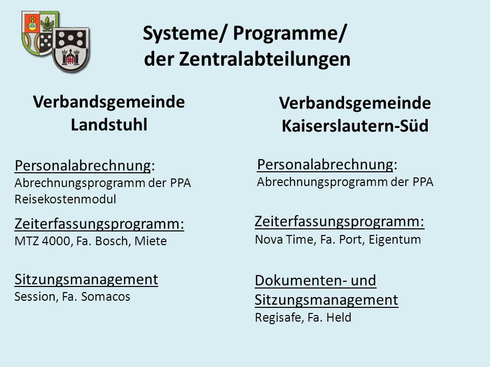 Systeme/ Programme/ der Zentralabteilungen
