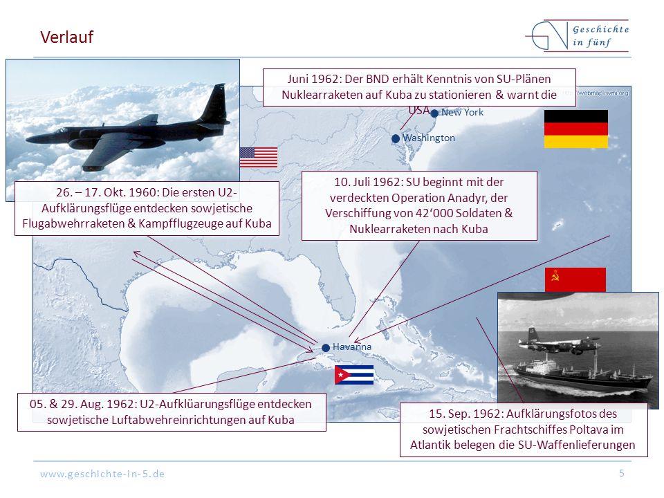 Verlauf Juni 1962: Der BND erhält Kenntnis von SU-Plänen Nuklearraketen auf Kuba zu stationieren & warnt die USA.