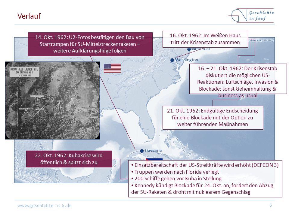 Verlauf 16. Okt. 1962: Im Weißen Haus tritt der Krisenstab zusammen