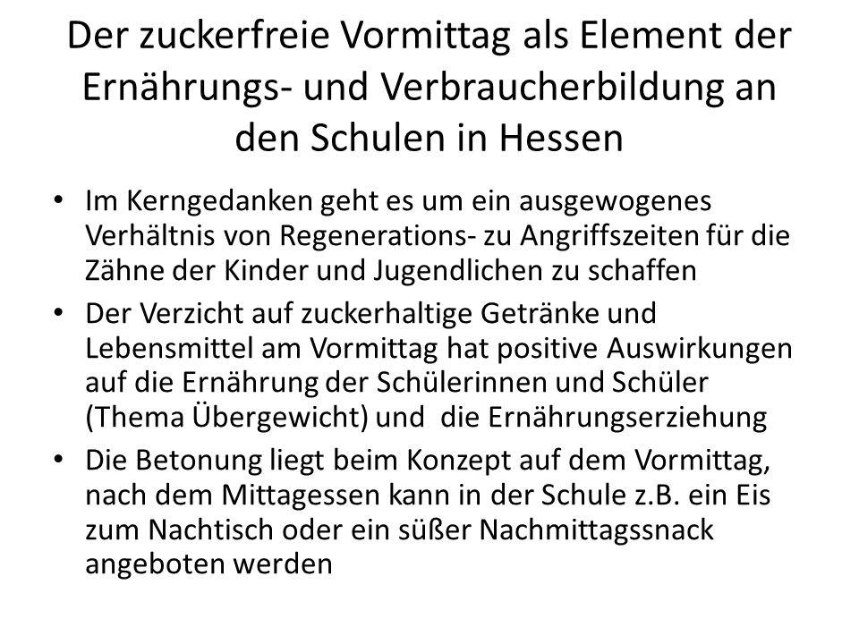 Der zuckerfreie Vormittag als Element der Ernährungs- und Verbraucherbildung an den Schulen in Hessen