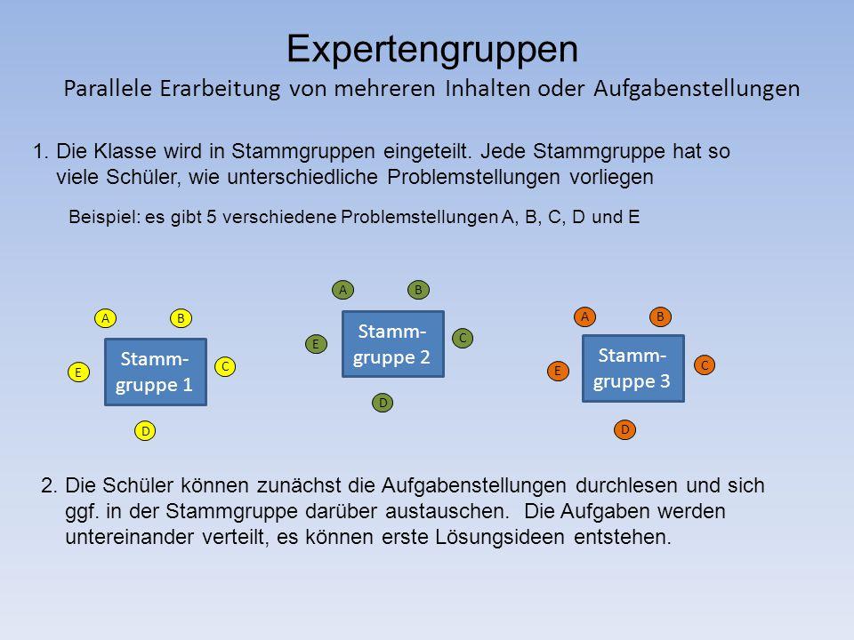 Expertengruppen Parallele Erarbeitung von mehreren Inhalten oder Aufgabenstellungen