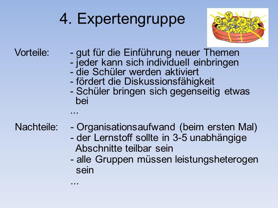 4. Expertengruppe Vorteile: - gut für die Einführung neuer Themen