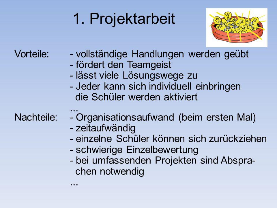 1. Projektarbeit Vorteile: - vollständige Handlungen werden geübt