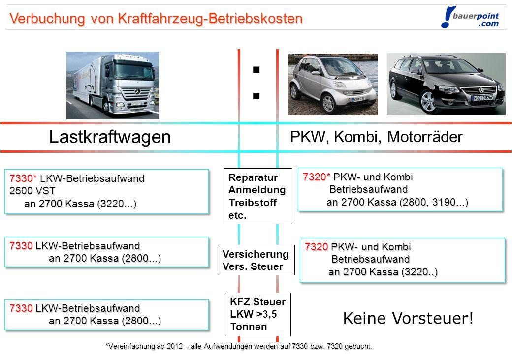 : Lastkraftwagen PKW, Kombi, Motorräder Keine Vorsteuer!