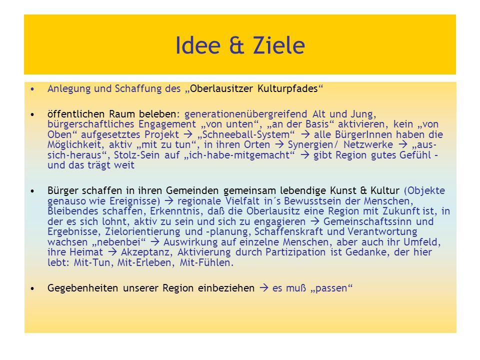 """Idee & Ziele Anlegung und Schaffung des """"Oberlausitzer Kulturpfades"""