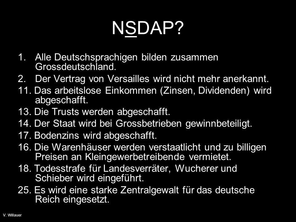 NSDAP 1. Alle Deutschsprachigen bilden zusammen Grossdeutschland.