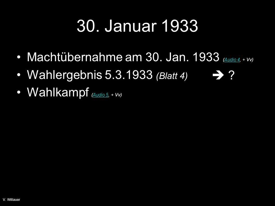 30. Januar 1933 Machtübernahme am 30. Jan. 1933 (Audio 4, + Vv)