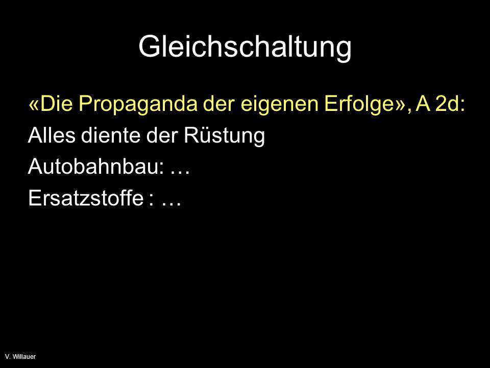 Gleichschaltung «Die Propaganda der eigenen Erfolge», A 2d: