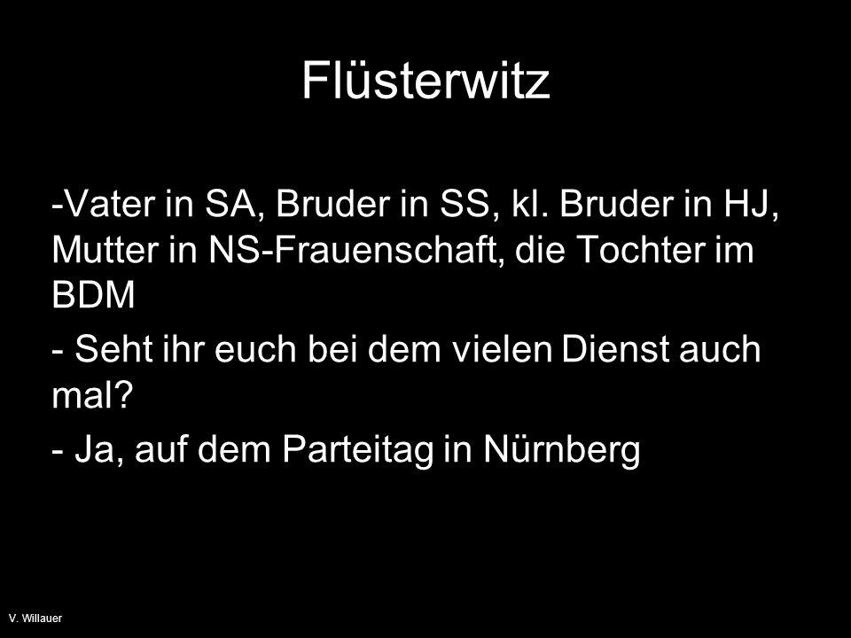 Flüsterwitz Vater in SA, Bruder in SS, kl. Bruder in HJ, Mutter in NS-Frauenschaft, die Tochter im BDM.