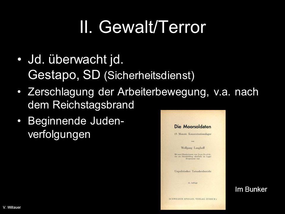 II. Gewalt/Terror Jd. überwacht jd. Gestapo, SD (Sicherheitsdienst)