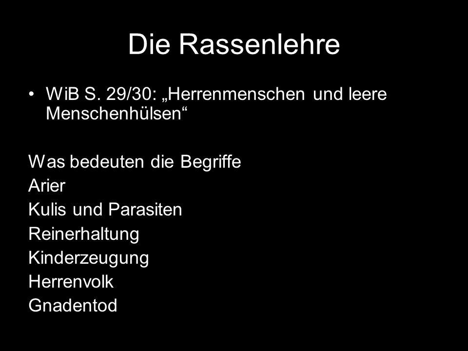 """Die Rassenlehre WiB S. 29/30: """"Herrenmenschen und leere Menschenhülsen Was bedeuten die Begriffe."""