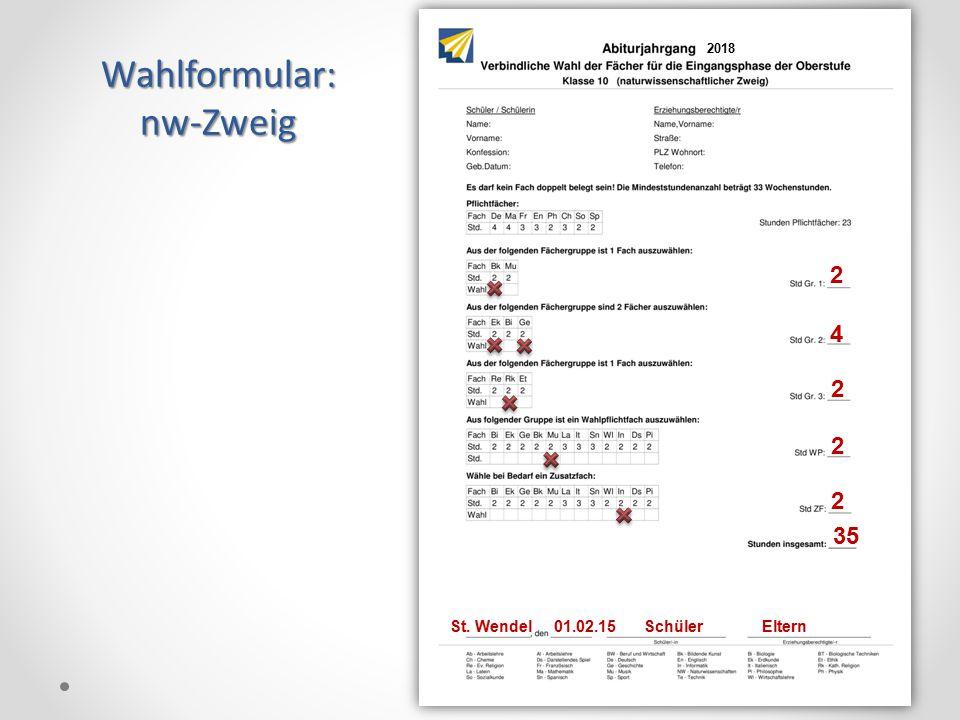 Wahlformular: nw-Zweig 2 4 2 2 2 35 18 St. Wendel 01.02.15 Schüler