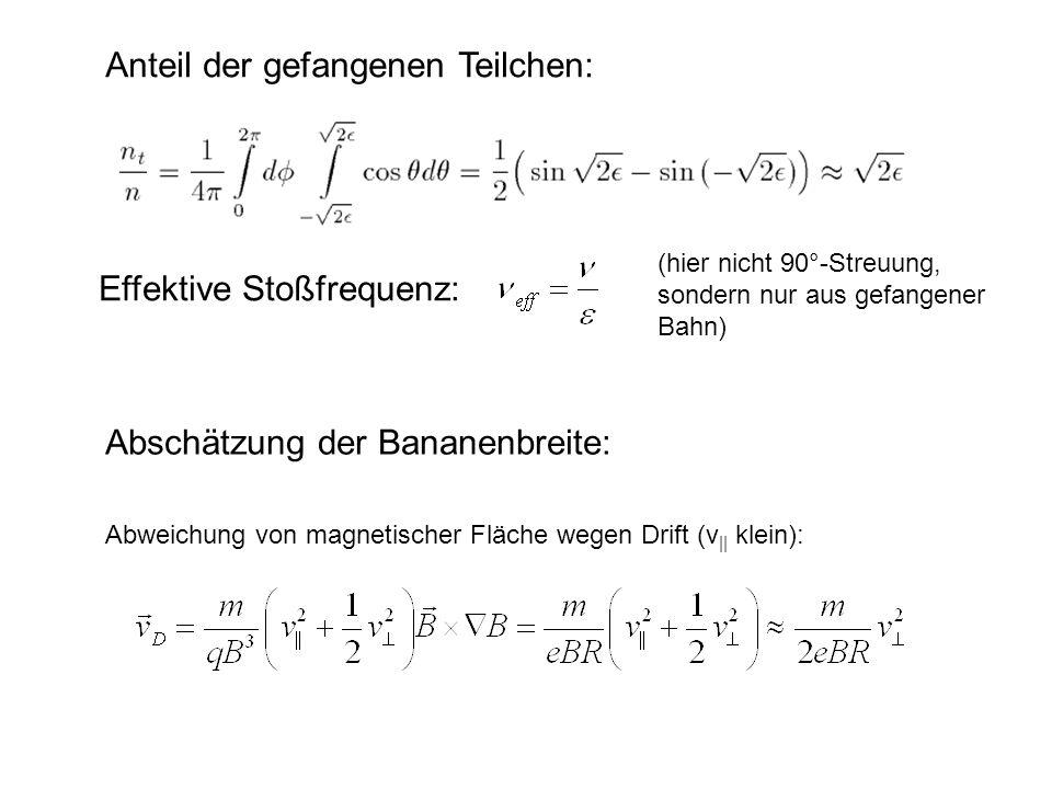 Anteil der gefangenen Teilchen:
