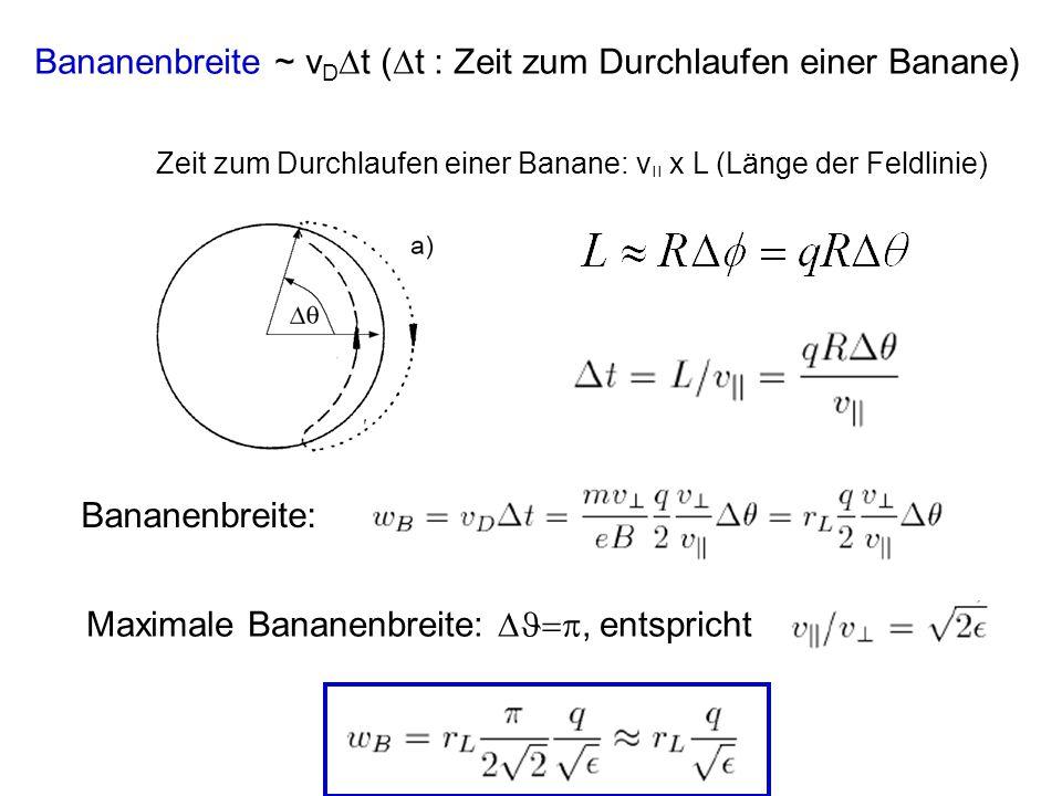Bananenbreite ~ vDt (t : Zeit zum Durchlaufen einer Banane)