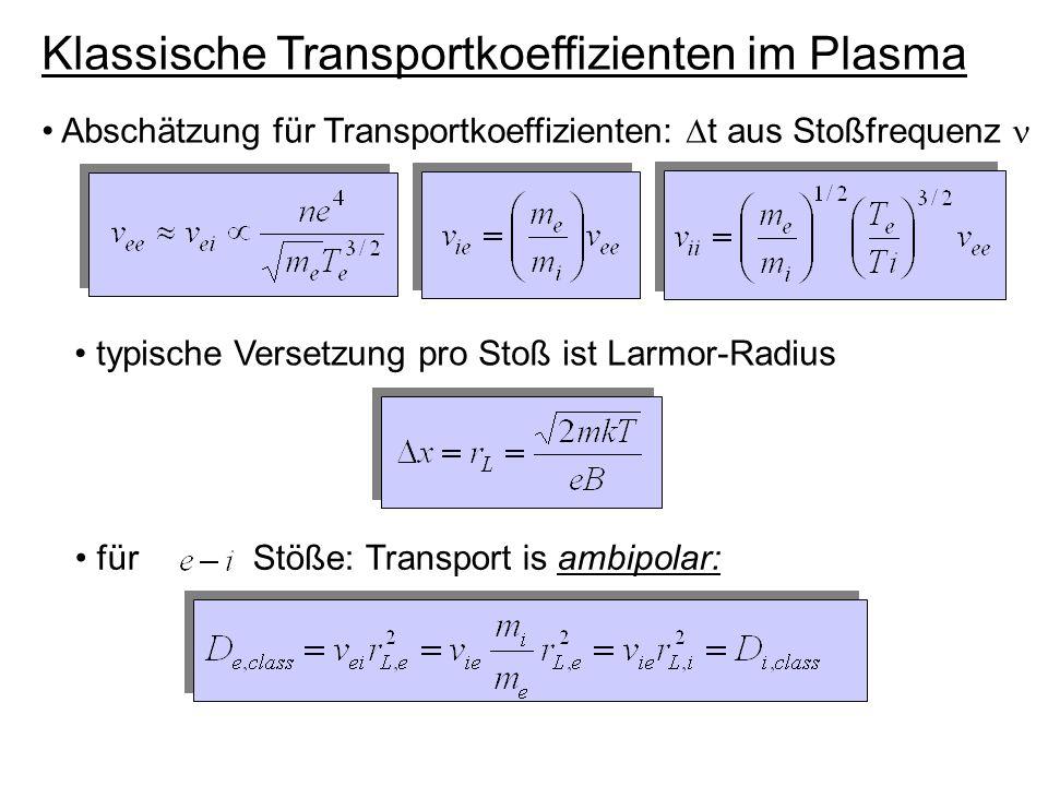 Klassische Transportkoeffizienten im Plasma