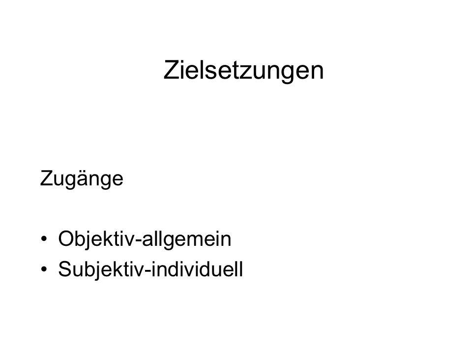Zielsetzungen Zugänge Objektiv-allgemein Subjektiv-individuell