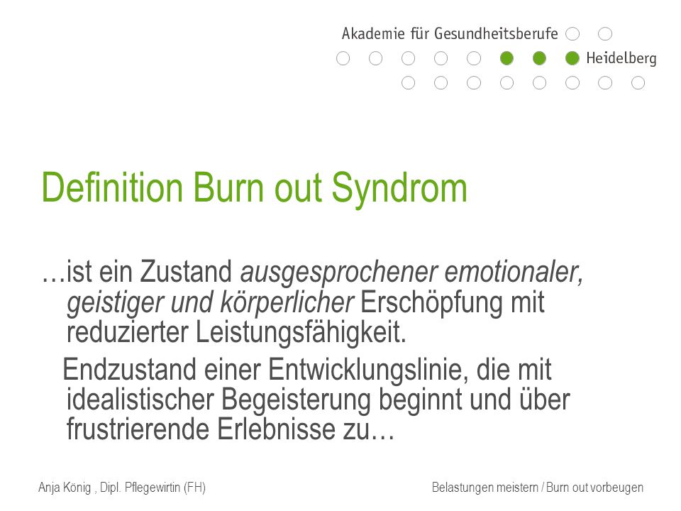 Definition Burn out Syndrom
