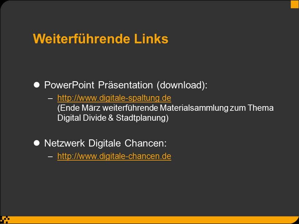 Weiterführende Links PowerPoint Präsentation (download):
