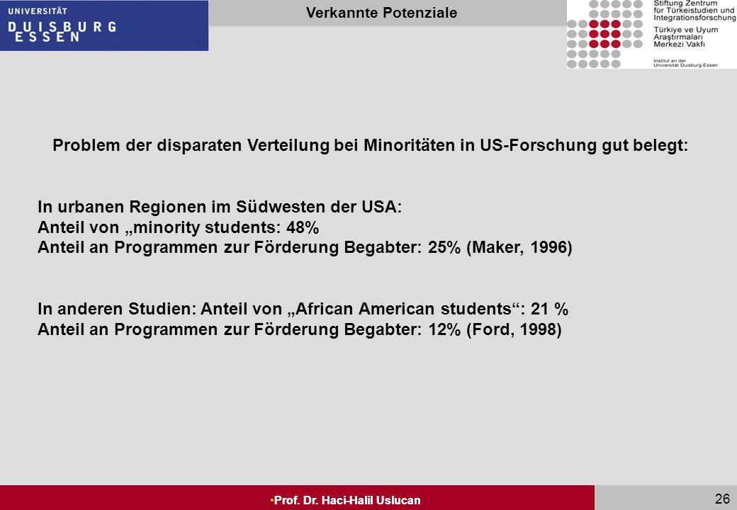 Problem der disparaten Verteilung bei Minoritäten in US-Forschung gut belegt: