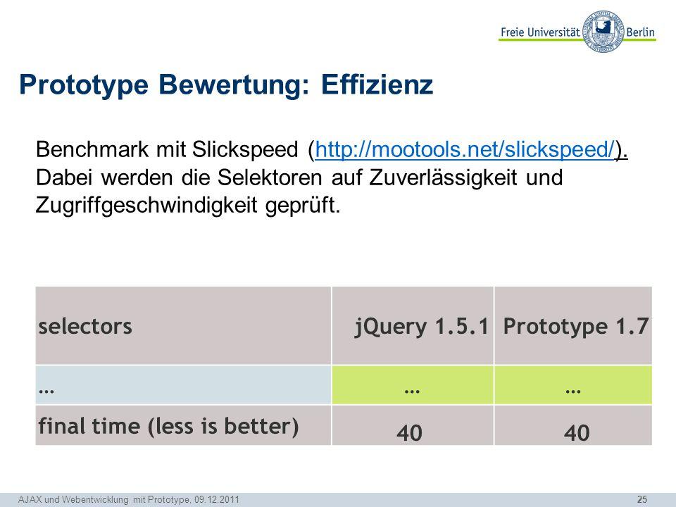 Prototype Bewertung: Effizienz