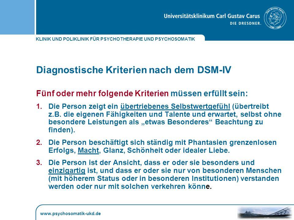 Diagnostische Kriterien nach dem DSM-IV