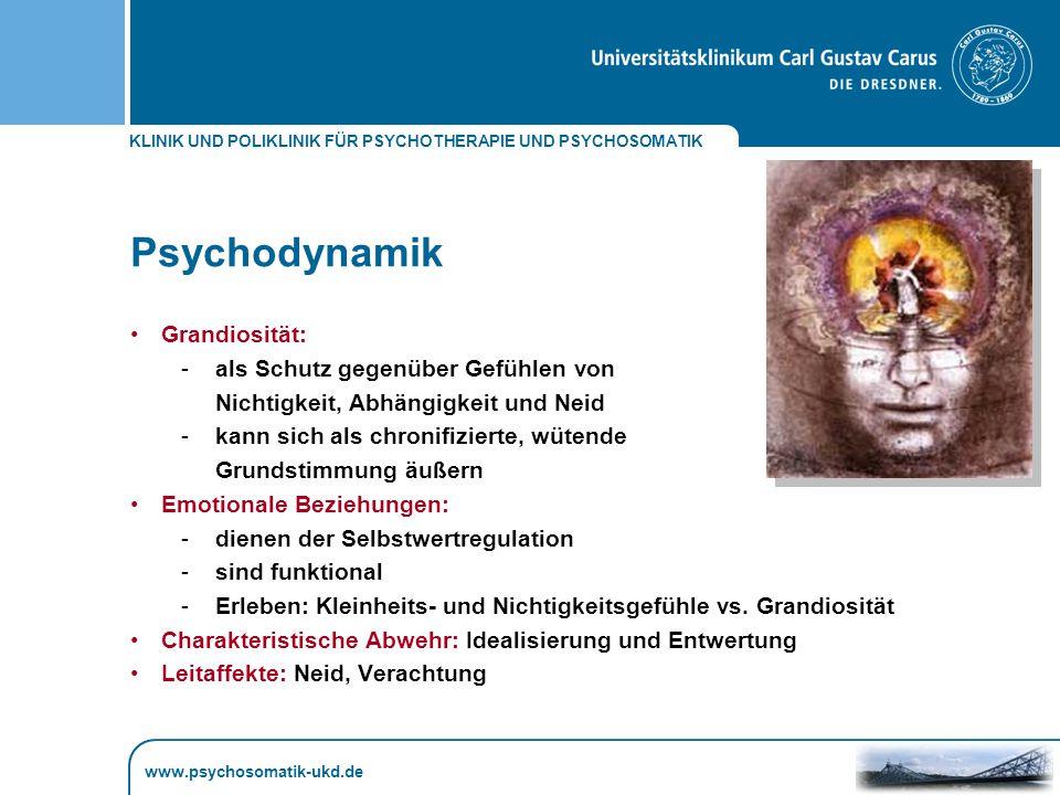 Psychodynamik Grandiosität: als Schutz gegenüber Gefühlen von