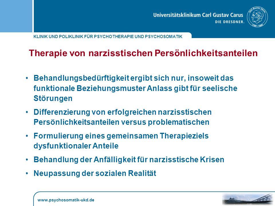 Therapie von narzisstischen Persönlichkeitsanteilen