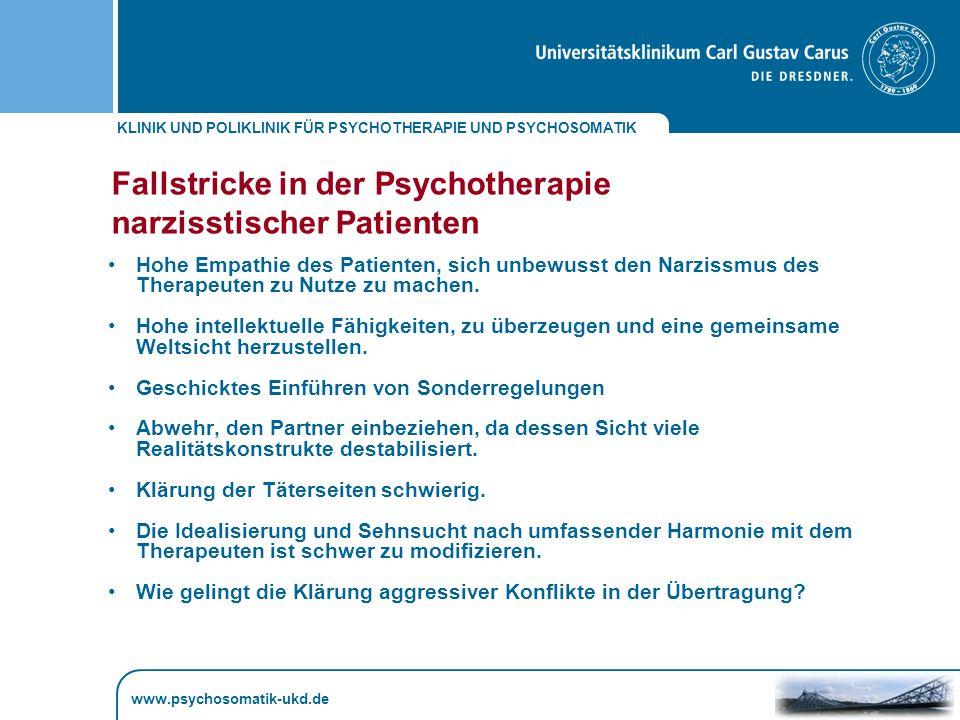 Fallstricke in der Psychotherapie narzisstischer Patienten