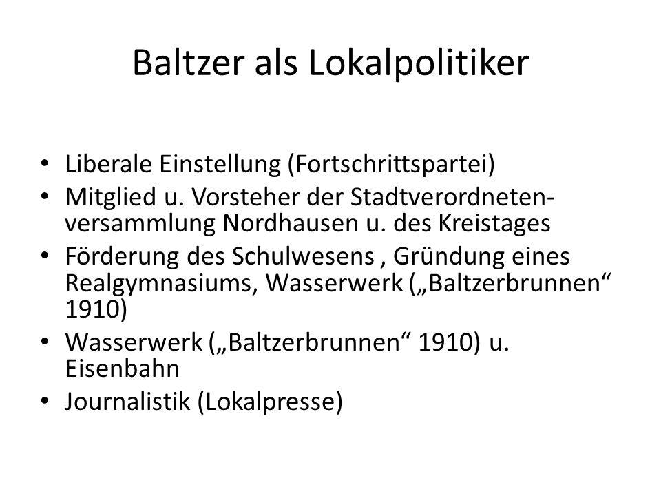 Baltzer als Lokalpolitiker