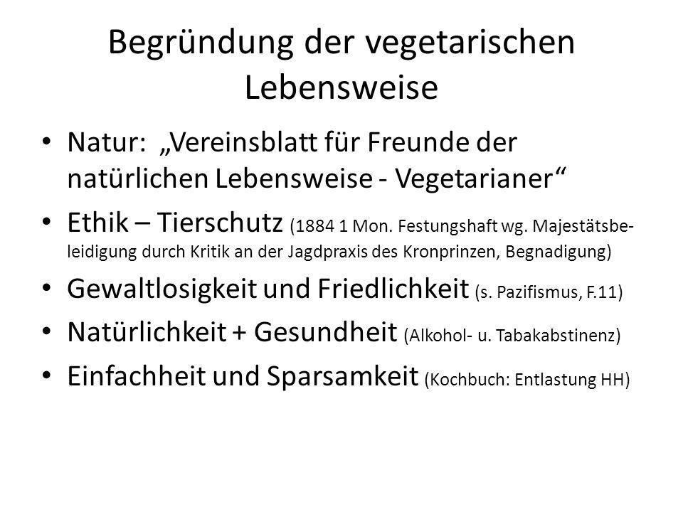 Begründung der vegetarischen Lebensweise