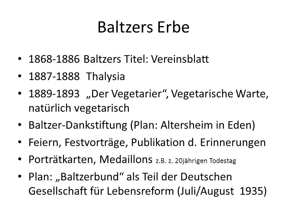 Baltzers Erbe 1868-1886 Baltzers Titel: Vereinsblatt
