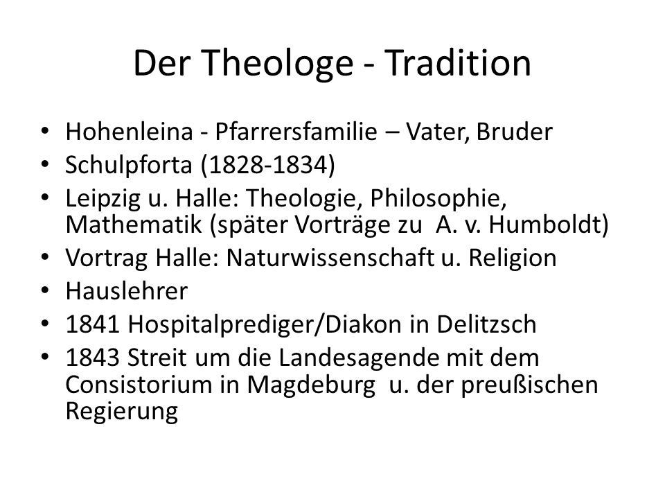 Der Theologe - Tradition