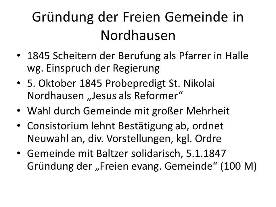 Gründung der Freien Gemeinde in Nordhausen