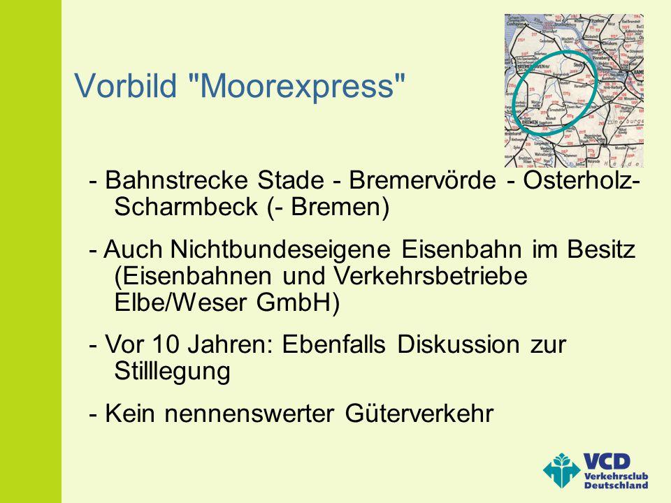 Vorbild Moorexpress - Bahnstrecke Stade - Bremervörde - Osterholz-Scharmbeck (- Bremen)