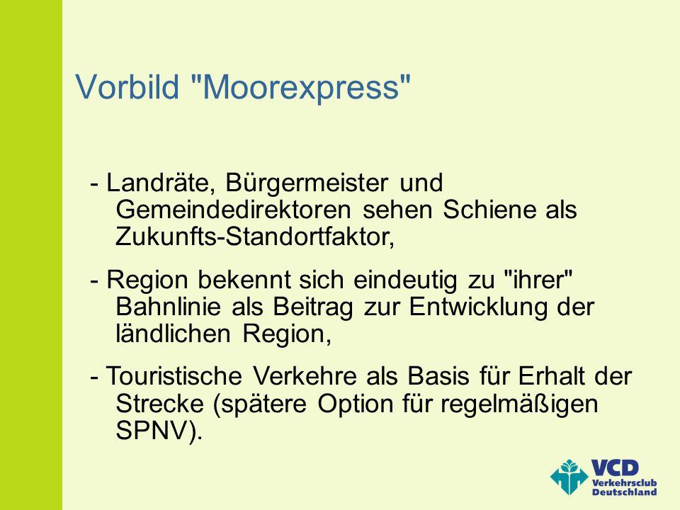 Vorbild Moorexpress - Landräte, Bürgermeister und Gemeindedirektoren sehen Schiene als Zukunfts-Standortfaktor,