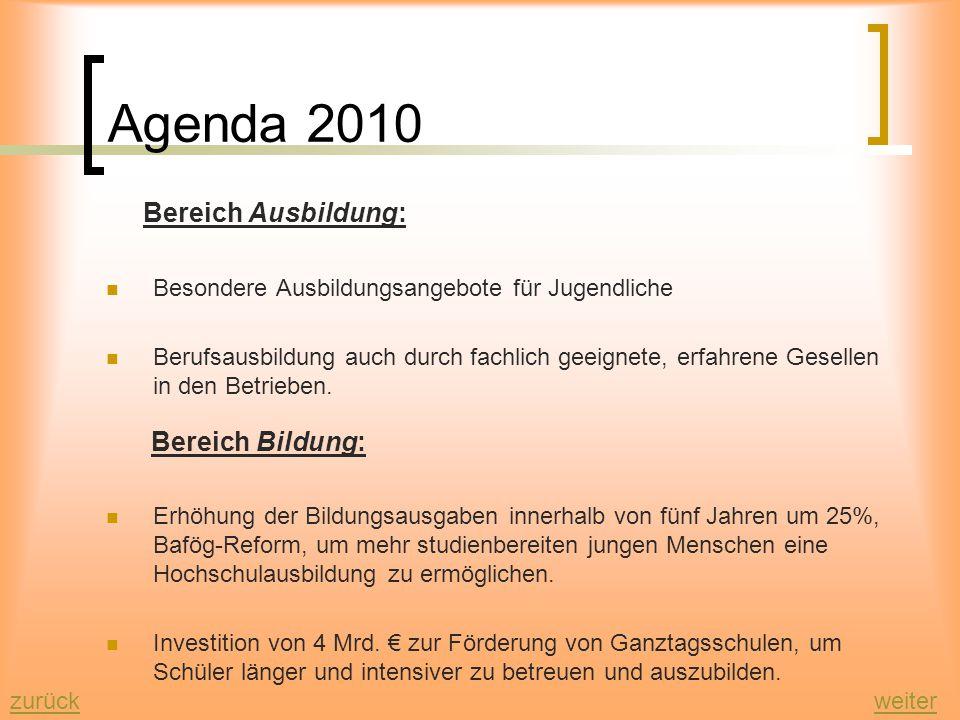 Agenda 2010 Bereich Ausbildung: Bereich Bildung: