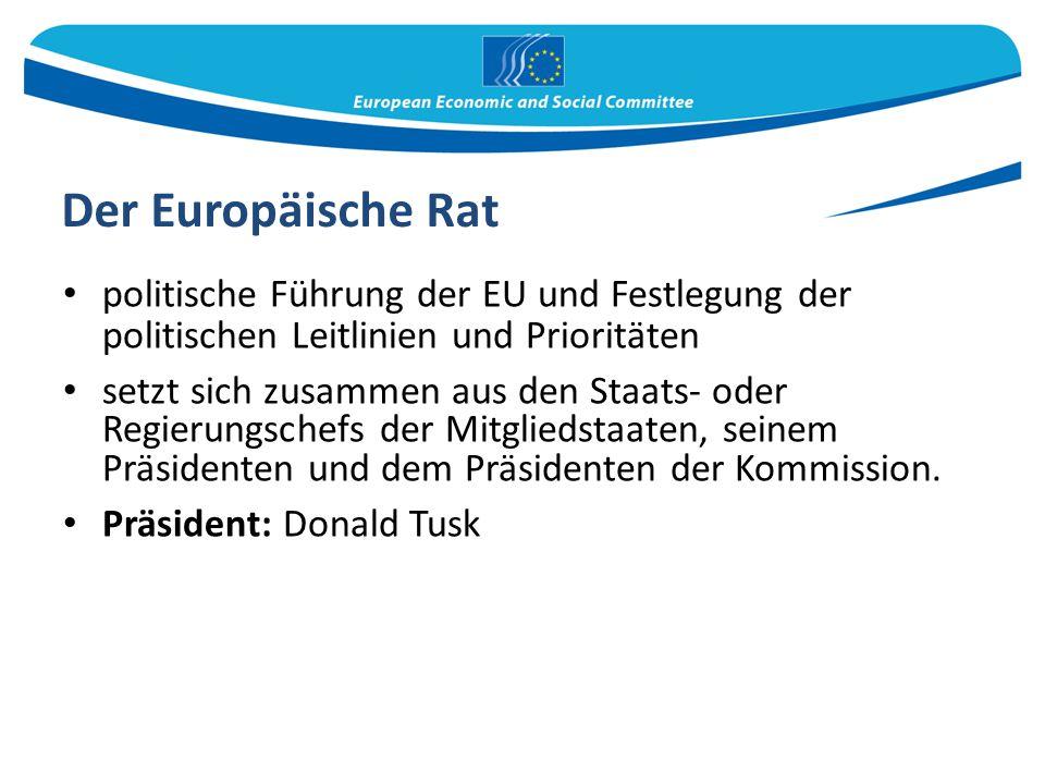 Der Europäische Rat politische Führung der EU und Festlegung der politischen Leitlinien und Prioritäten.