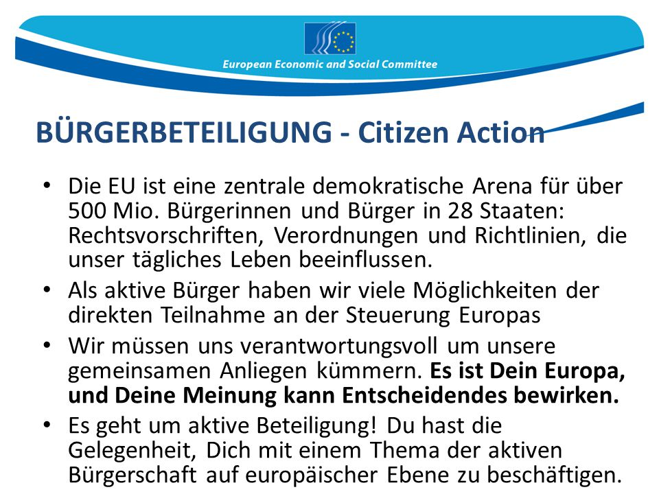 BÜRGERBETEILIGUNG - Citizen Action