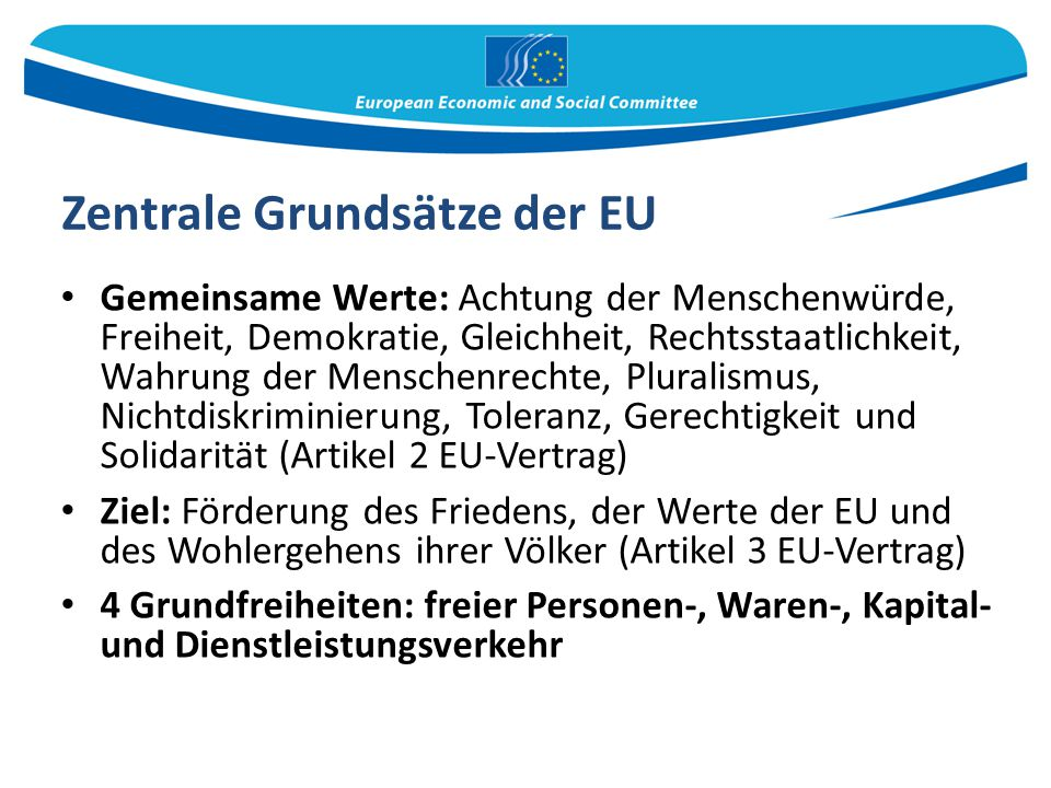 Zentrale Grundsätze der EU