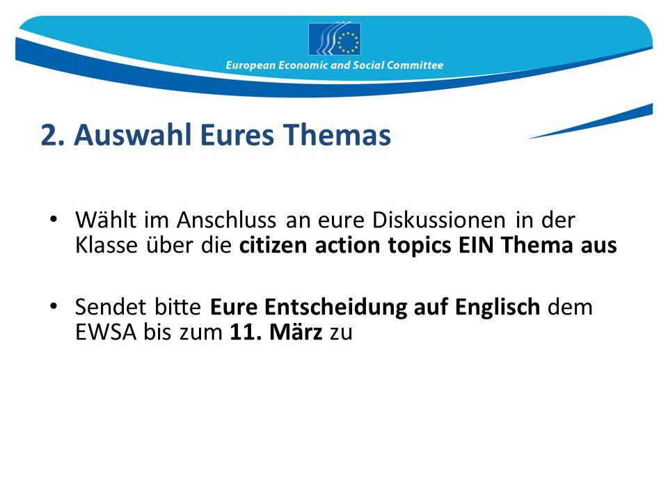 2. Auswahl Eures Themas Wählt im Anschluss an eure Diskussionen in der Klasse über die citizen action topics EIN Thema aus.