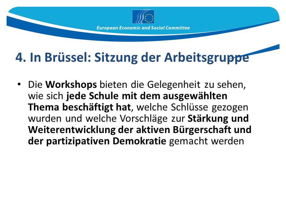 4. In Brüssel: Sitzung der Arbeitsgruppe
