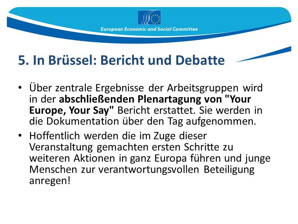 5. In Brüssel: Bericht und Debatte